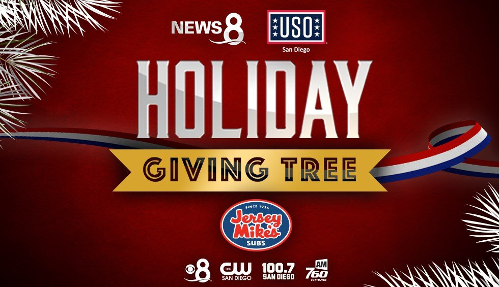 News 8 USO San Diego Holiday Giving Tree