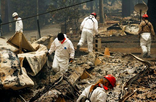 FILE - In this Tuesday, Nov. 13, 2018 file photo, search and rescue workers search for human remains at a trailer park burned out from the Camp fire in Paradise, Calif.  (AP Photo/John Locher, File)