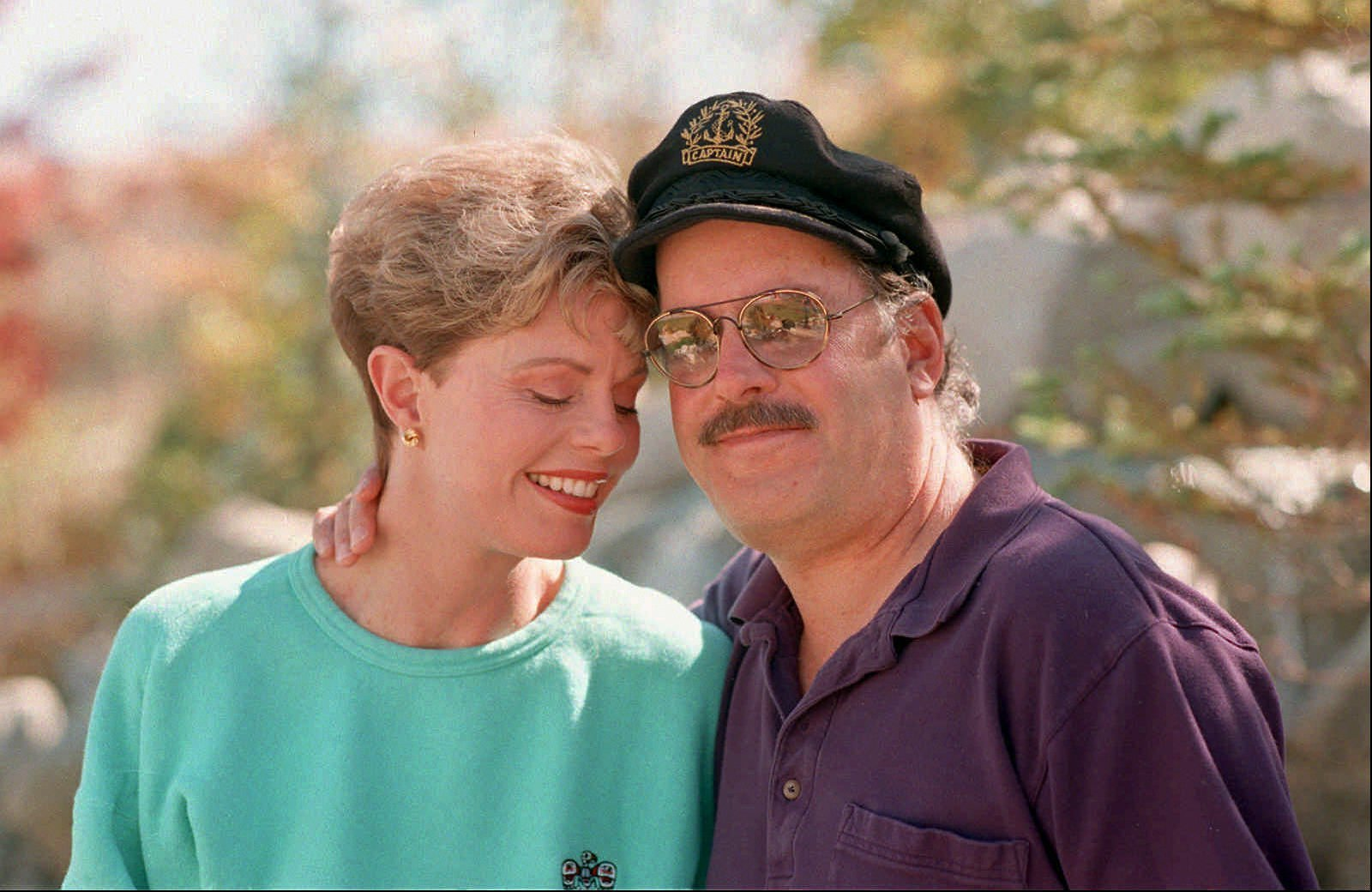 This Oct. 25, 1995 file photo shows Toni Tennille, left, and Daryl Dragon, the singing duo The Captain and Tennille, posing during an interview in at their home in Washoe Valley, south of Reno, Nev.