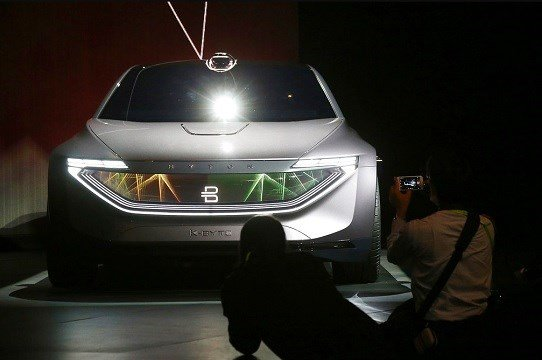 Byton unveils the K-Byte Concept car during a news conference before CES International Sunday, Jan. 6, 2019, in Las Vegas. (AP Photo/Ross D. Franklin)