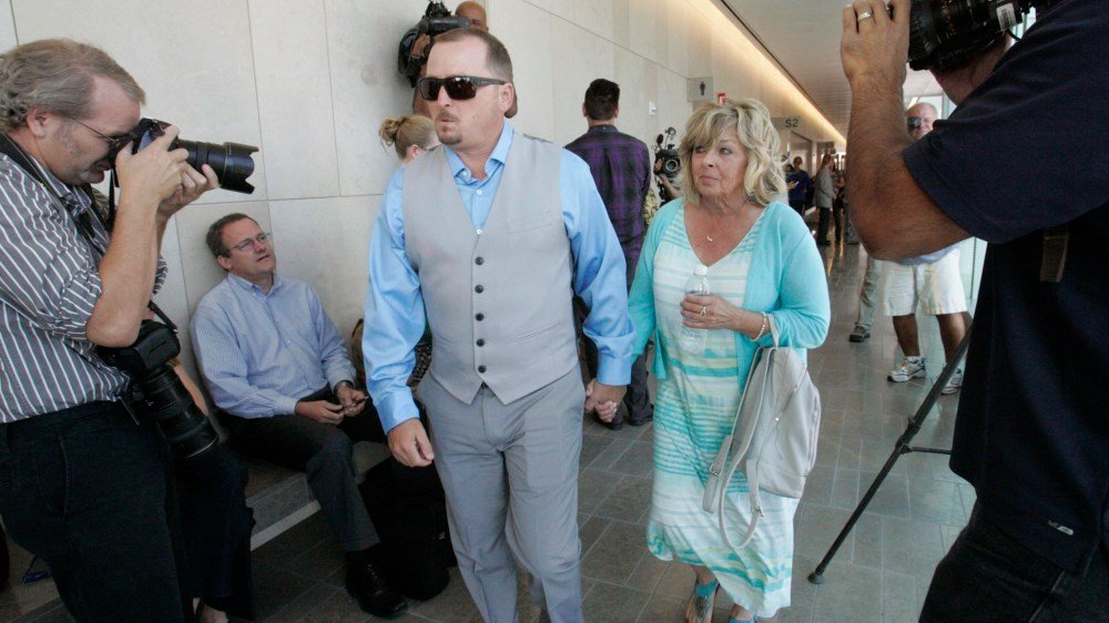 In this June, 15, 2015, file photo, Michael McStay, brother of the victims, and Susan Blake, their mother, arrive at court for the preliminary hearing for accused killer Chase Merritt in San Bernardino, Calif. (John Gibbins/Union-Tribune via AP)