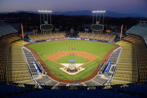 The Los Angeles Dodgers practice in an empty stadium for Game 1 of the baseball team's NLCS against the Milwaukee Brewers, Wednesday, Oct. 10, 2018, in Los Angeles. (AP Photo/Mark J. Terrill)