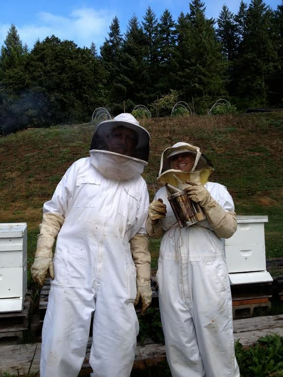 These are my only moments in bee keeping. First time with bees was in Oregon with beekeeper Dave Muralt. He proved to me that bees are nice to you if you're nice to them.