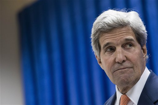 U.S. Secretary of State John Kerry pauses while speaking during a press conference at the U.S. Embassy in Baghdad, Iraq, Monday, June 23, 2014. (AP)