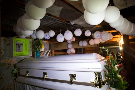 (AP Photo  Oliver de Ros) Balloons hang over the coffin that contain the e1e2481d2f1
