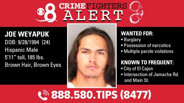 Fugitive on parole for burglary known to frequent El Cajon