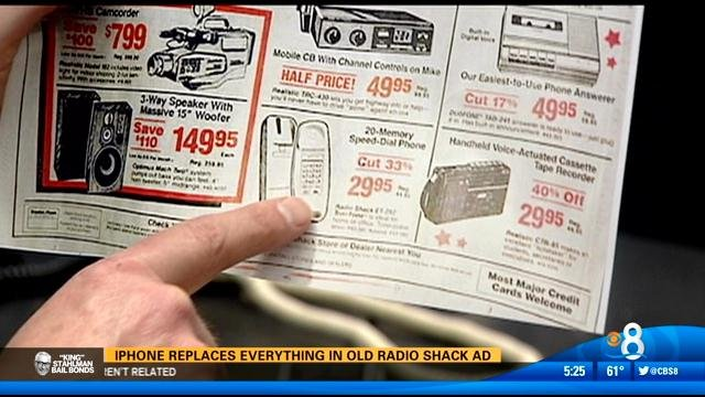 iPhone replaces everything in old Radio Shack ad - CBS ...